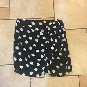 Polka dot ruffle mini skirt